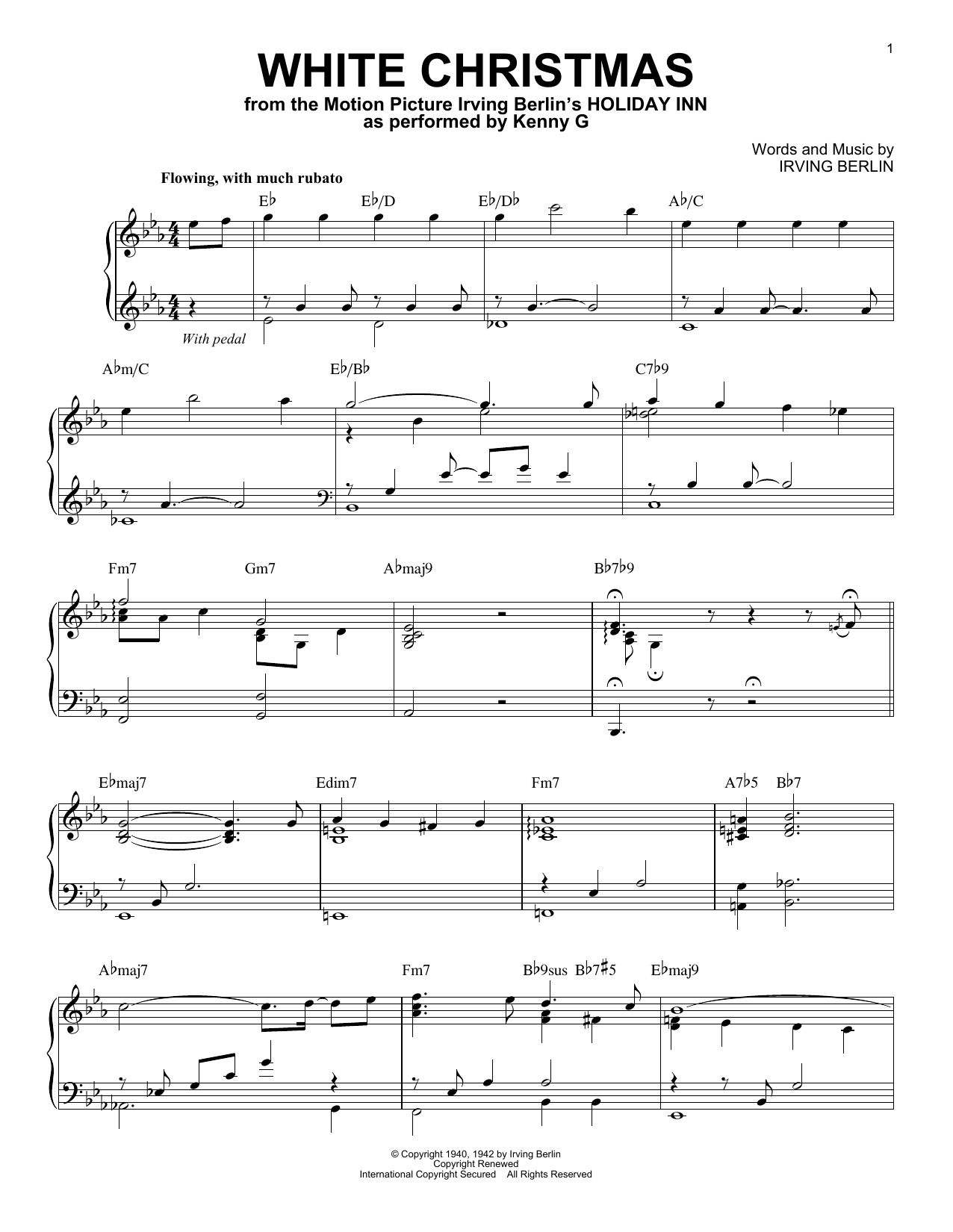White Christmas Chords Kenny G White Christmas Sheet Music Notes Chords Download Printable Piano Solo Sku 415734