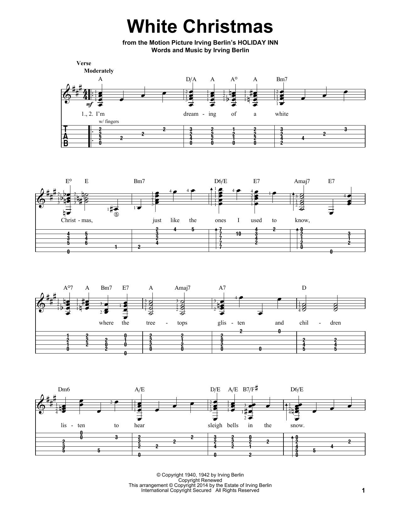 White Christmas Chords White Christmas Irving Berlin Easy Guitar Tab Guitar Instructor