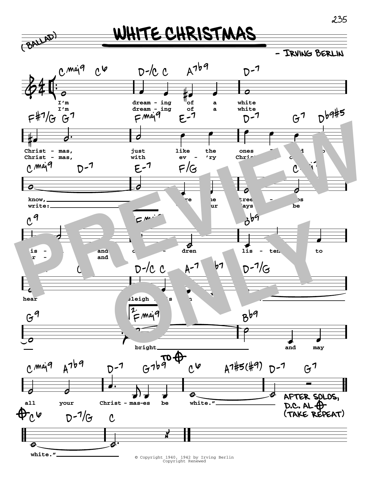 White Christmas Chords White Christmas Sheet Music Irving Berlin Real Book Melody
