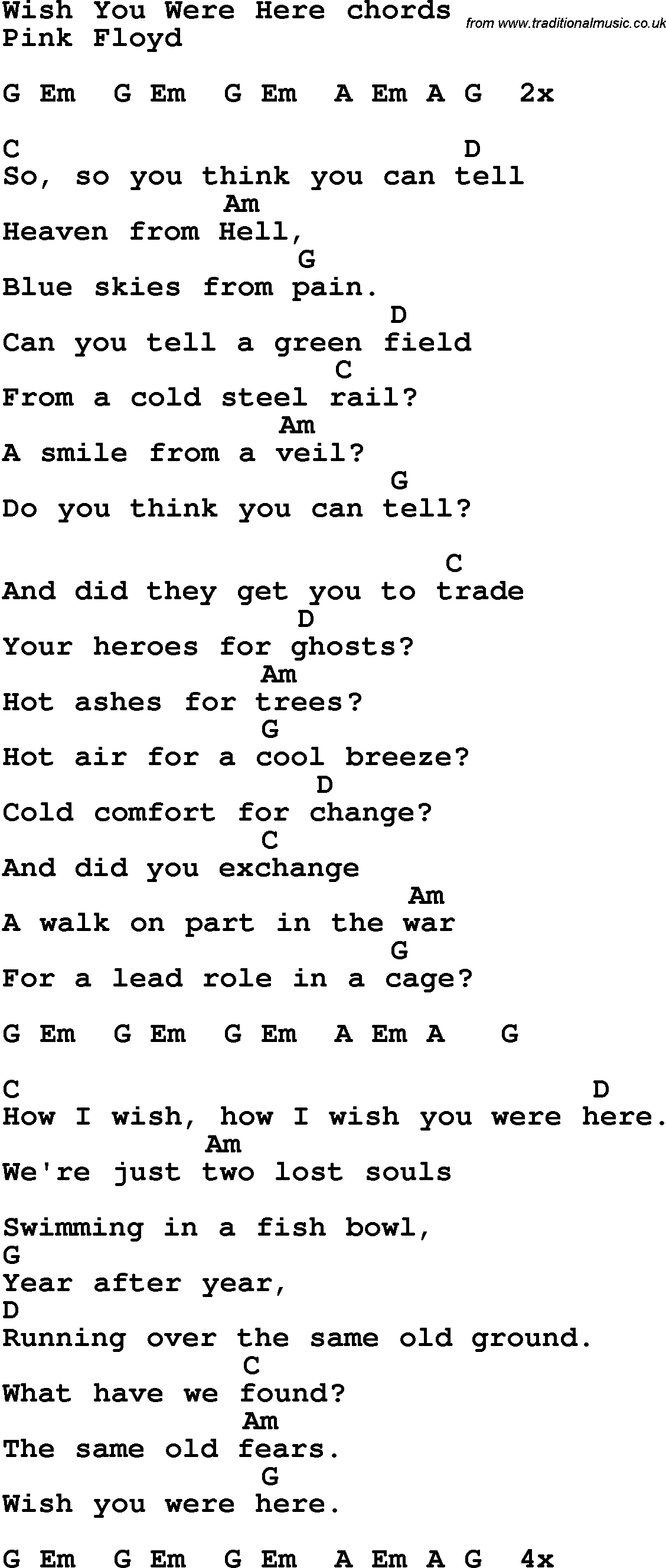 Wish You Were Here Chords Song Lyrics With Guitar Chords For Wish You Were Here Pink Floyd