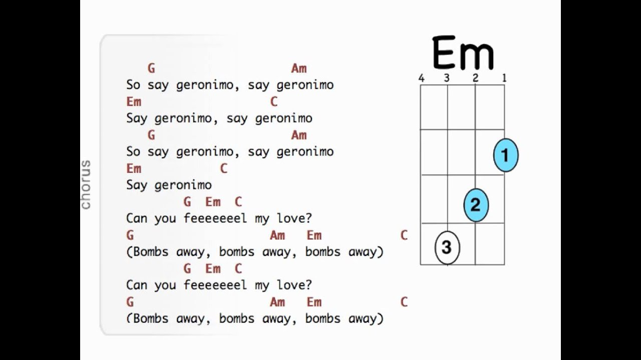 You And I Ukulele Chords Geronimo Uke Lyrics And Uke Chords