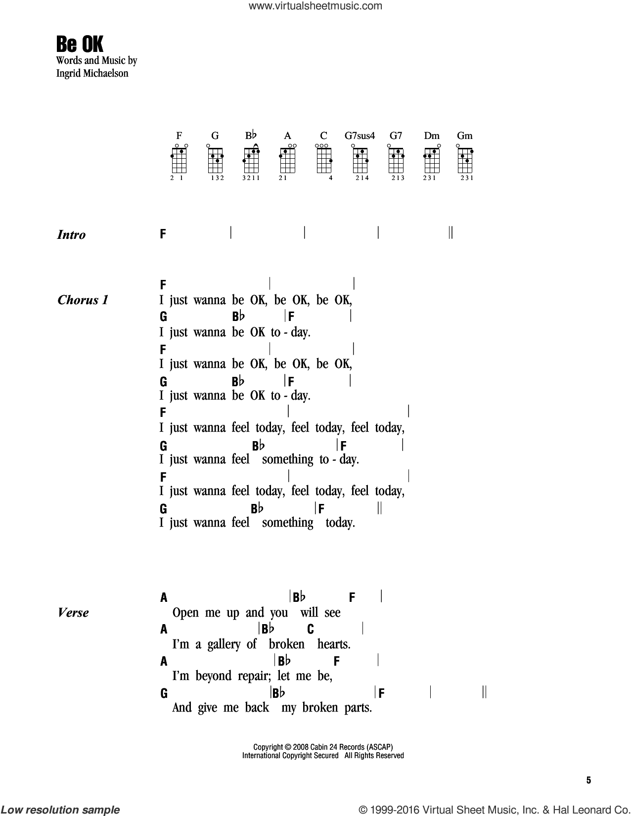 You And I Ukulele Chords Michaelson Be Ok Sheet Music For Ukulele Chords Pdf