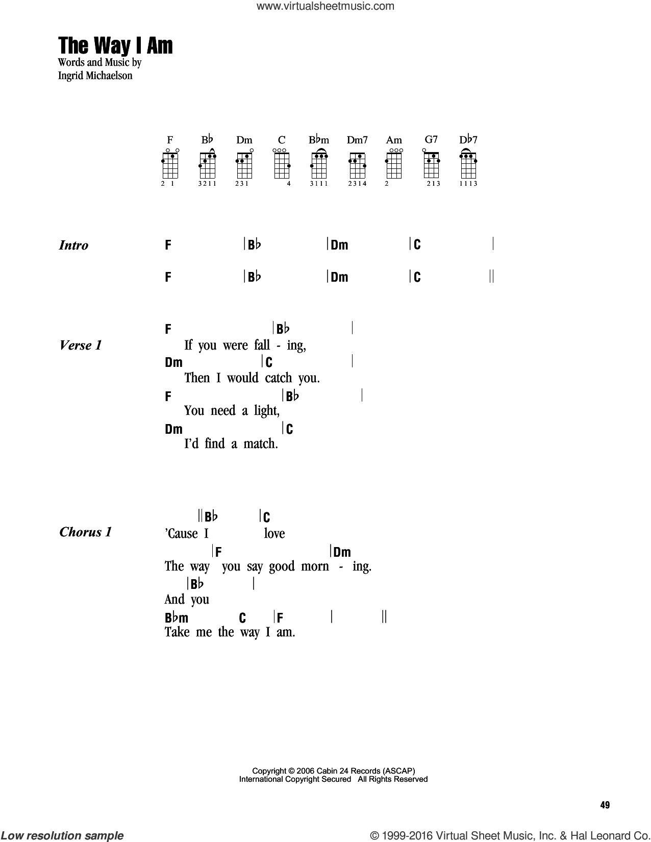 You And I Ukulele Chords Michaelson The Way I Am Sheet Music For Ukulele Chords Pdf