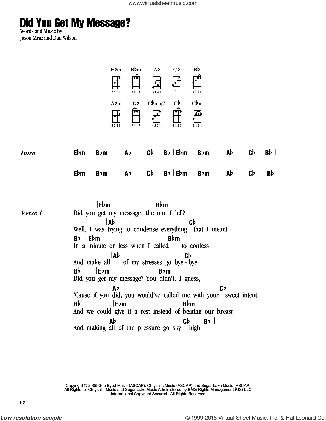 You And I Ukulele Chords Mraz Did You Get My Message Sheet Music For Ukulele Chords
