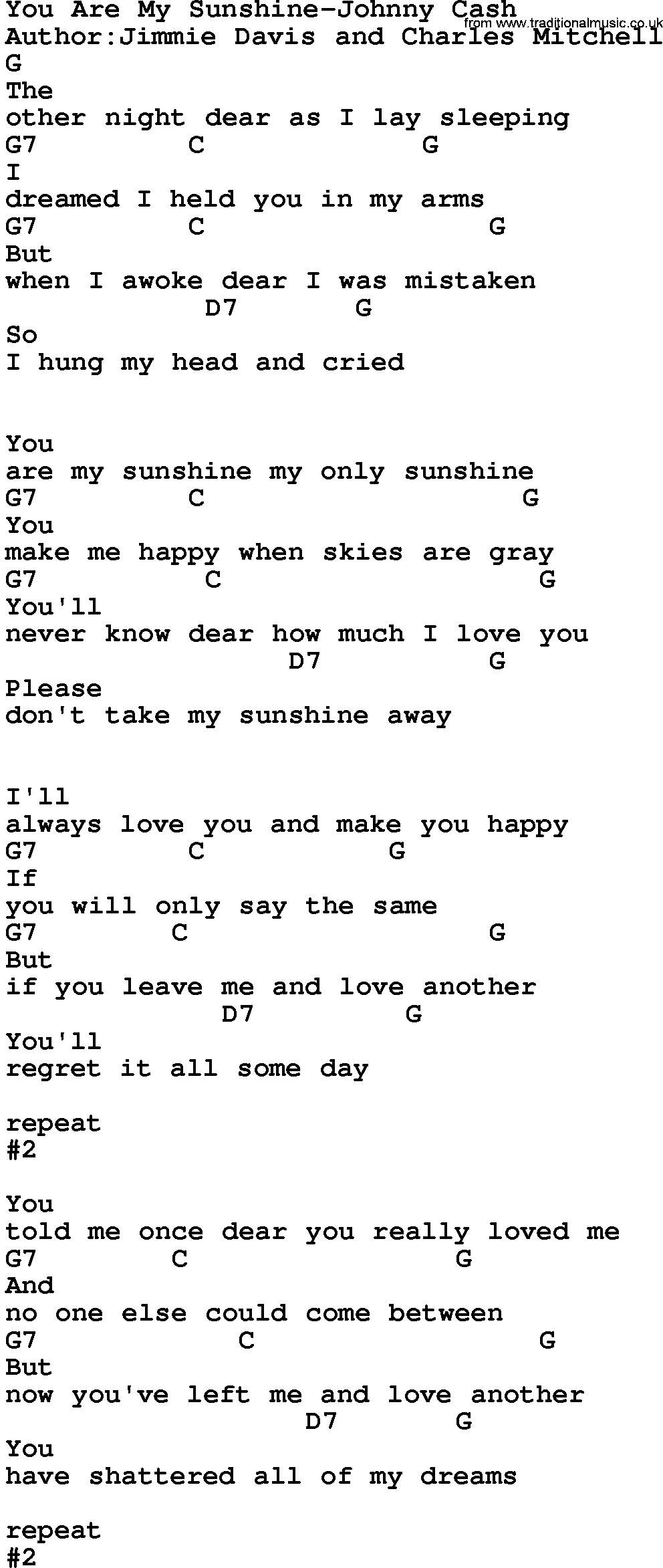 You Are My Sunshine Chords Country Musicyou Are My Sunshine Johnny Cash Lyrics And Chords