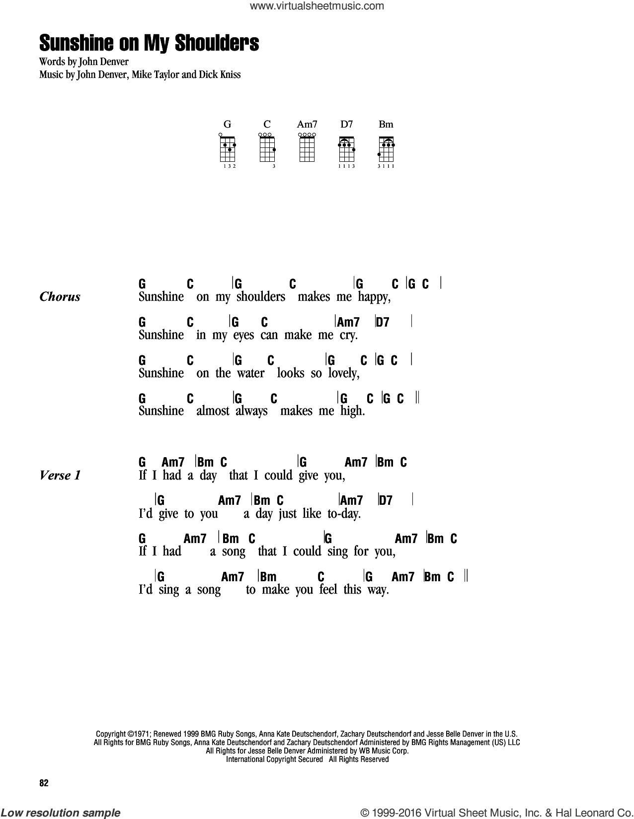 You Are My Sunshine Chords Denver Sunshine On My Shoulders Sheet Music For Ukulele Chords