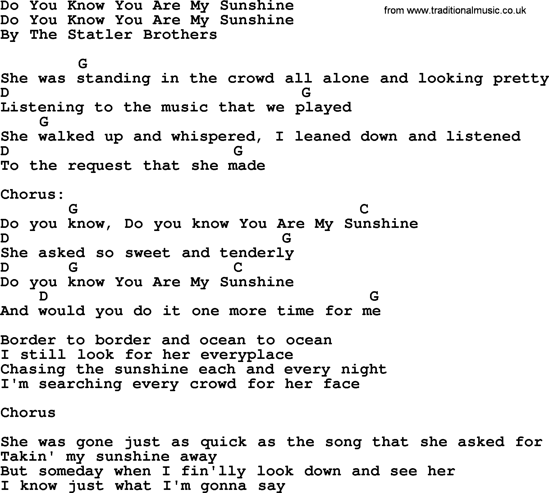 You Are My Sunshine Chords Do You Know You Are My Sunshine Bluegrass Lyrics With Chords