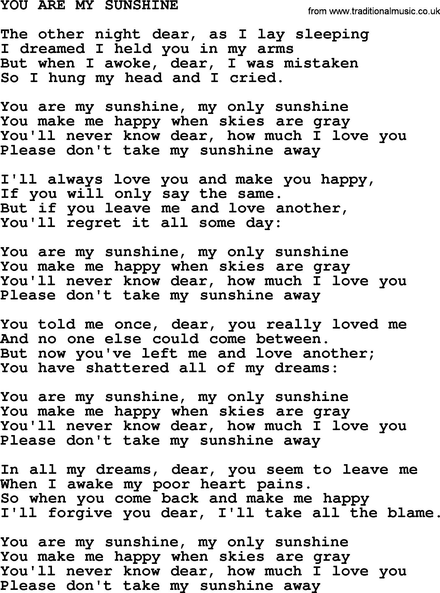 You Are My Sunshine Chords Johnny Cash Song You Are My Sunshine Lyrics