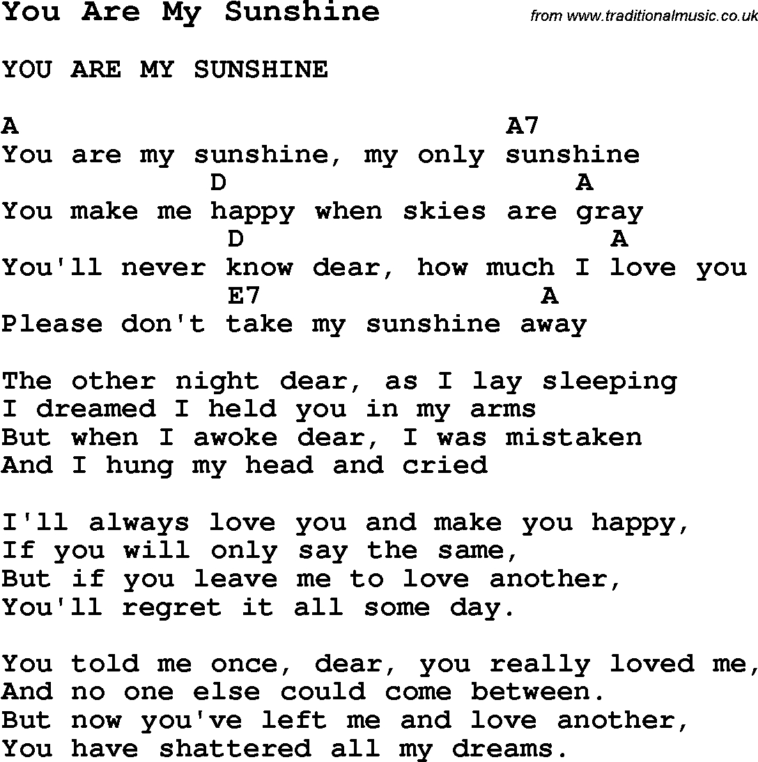 You Are My Sunshine Chords Summer Camp Song You Are My Sunshine With Lyrics And Chords For