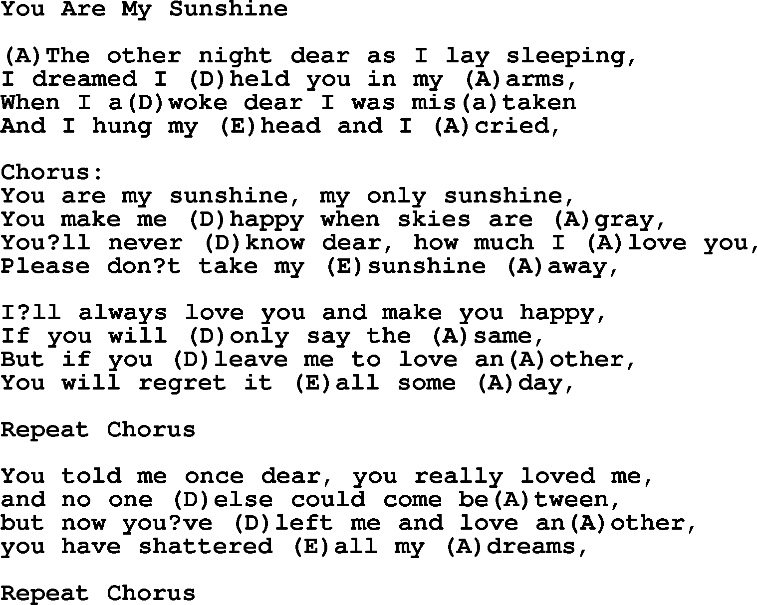 You Are My Sunshine Chords Willie Nelson Song You Are My Sunshine Lyrics And Chords