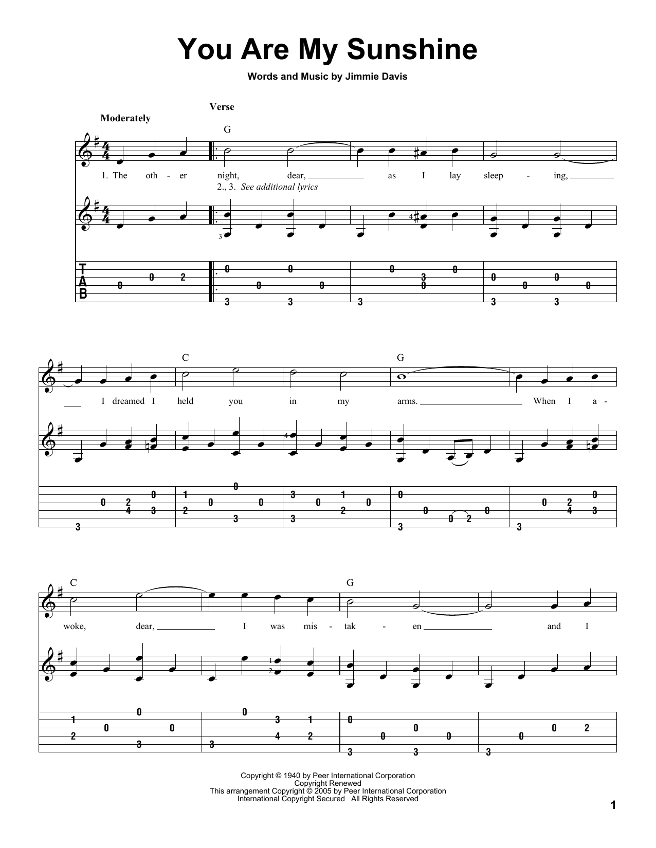 You Are My Sunshine Chords You Are My Sunshine Jimmie Davis Solo Guitar Guitar Instructor