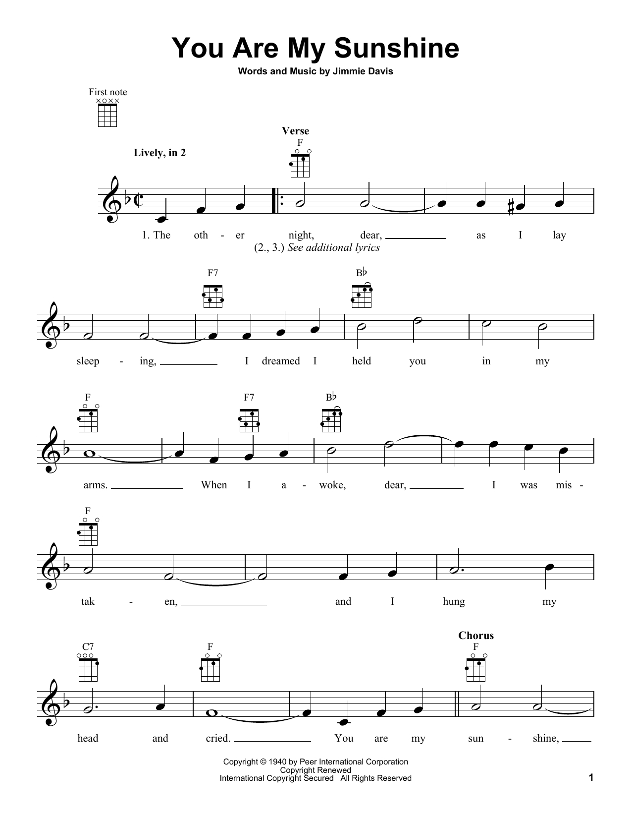 You Are My Sunshine Chords You Are My Sunshine Jimmie Davis Ukulele Guitar Instructor