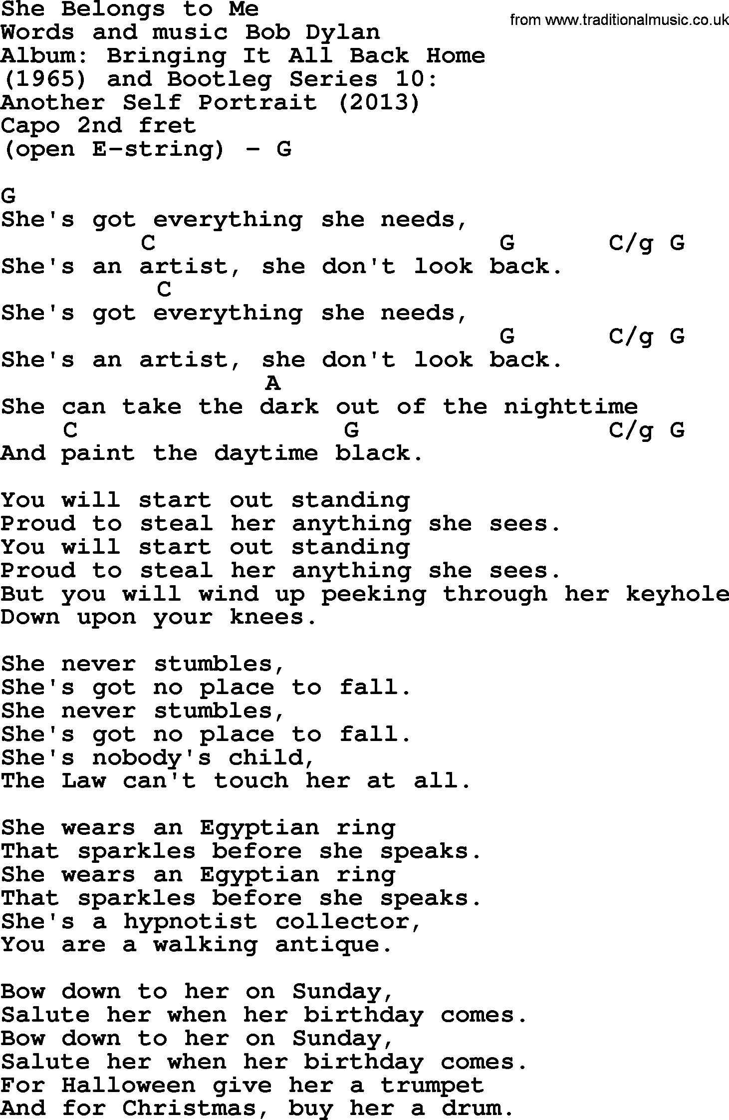 You Belong With Me Chords Bob Dylan Song She Belongs To Me Lyrics And Chords