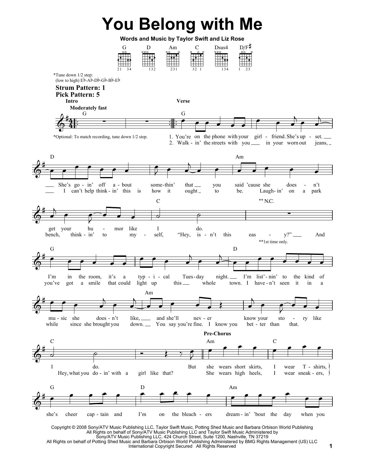 You Belong With Me Chords Sheet Music Digital Files To Print Licensed Liz Rose Digital Sheet