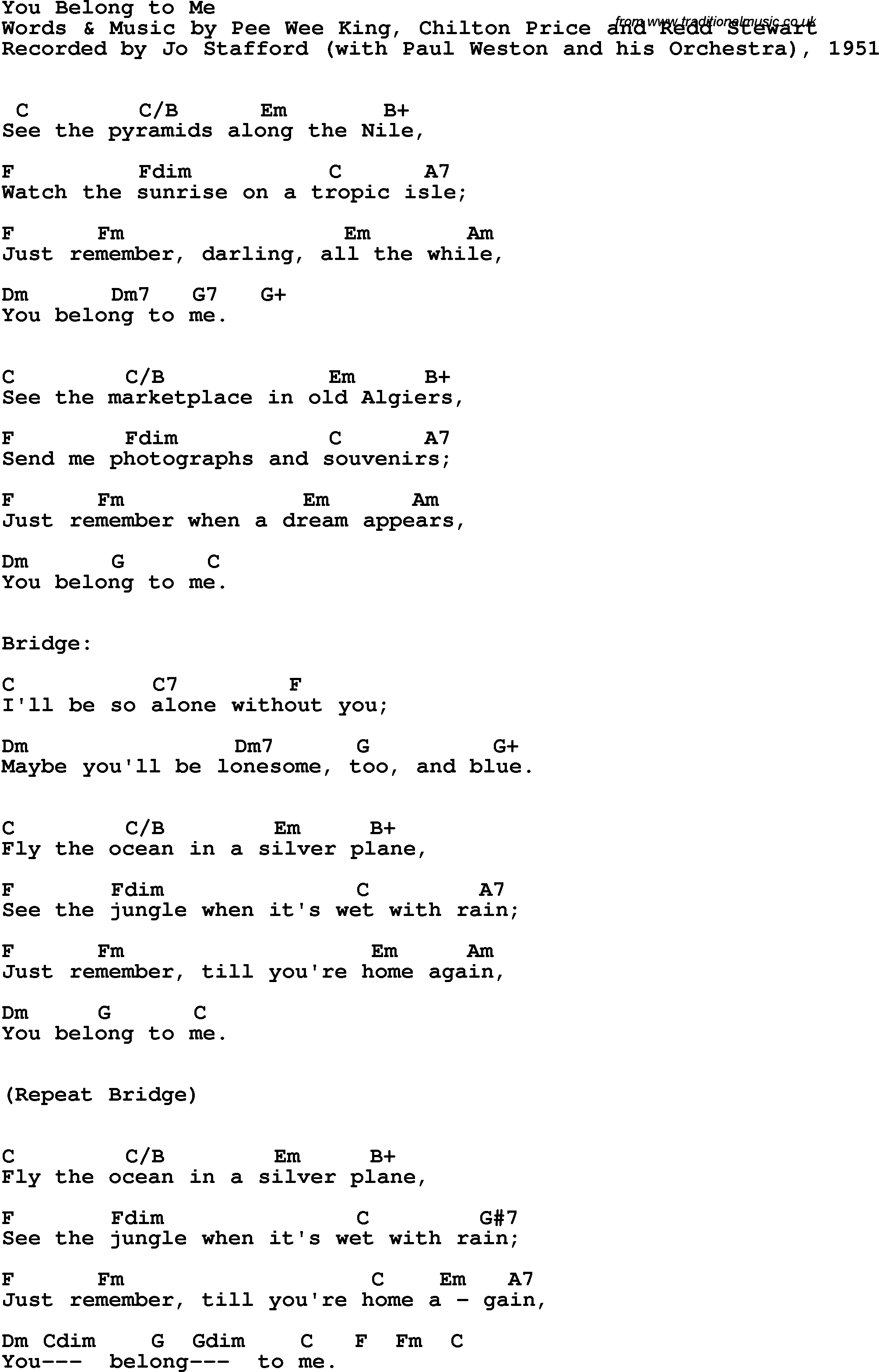 You Belong With Me Chords Song Lyrics With Guitar Chords For You Belong To Me Jo Stafford 1952
