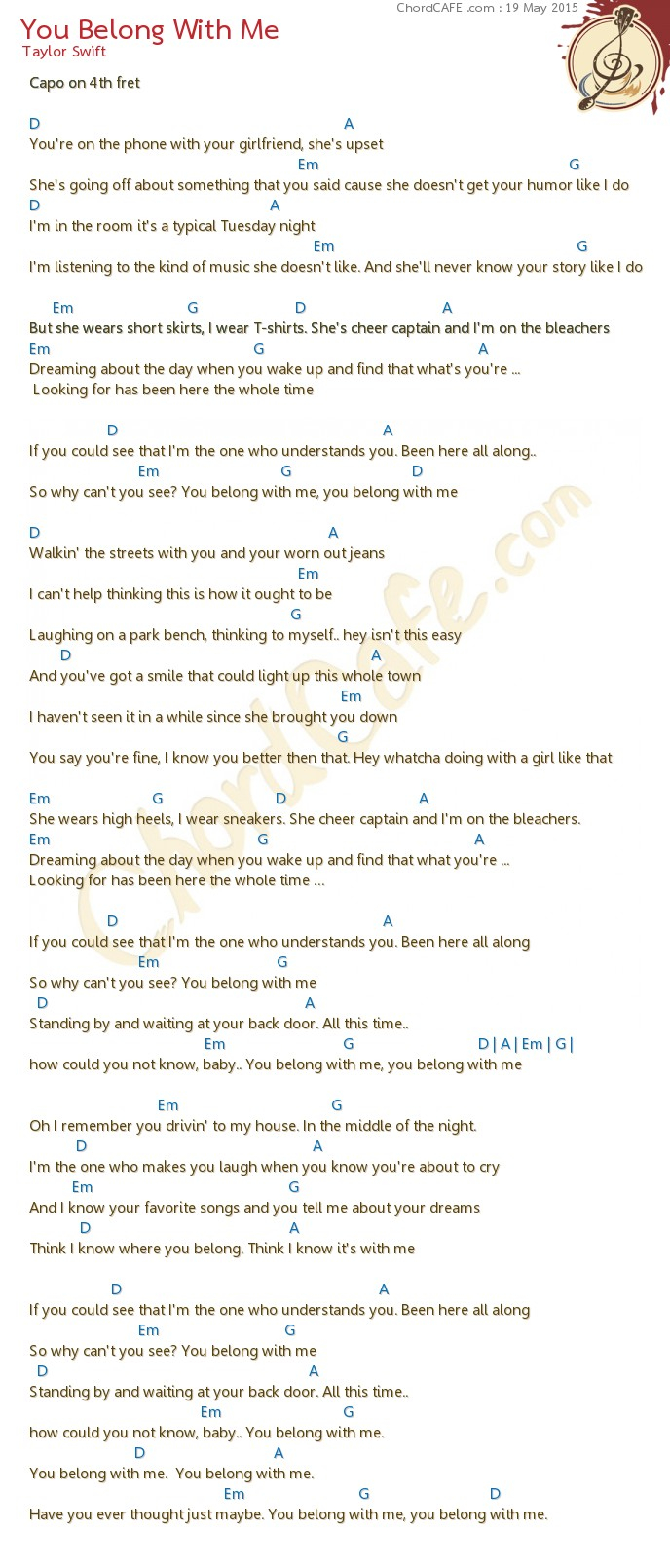 You Belong With Me Chords You Belong With Me Download Chordcafe
