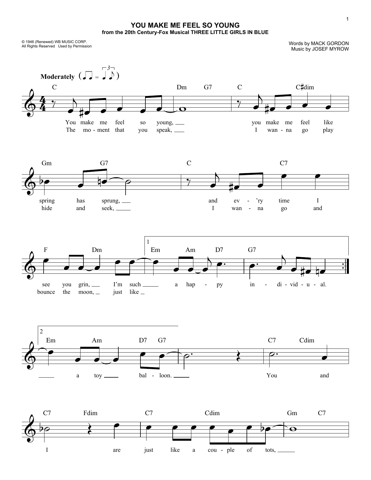 You Make Me Brave Chords Frank Sinatra You Make Me Feel So Young At Stantons Sheet Music
