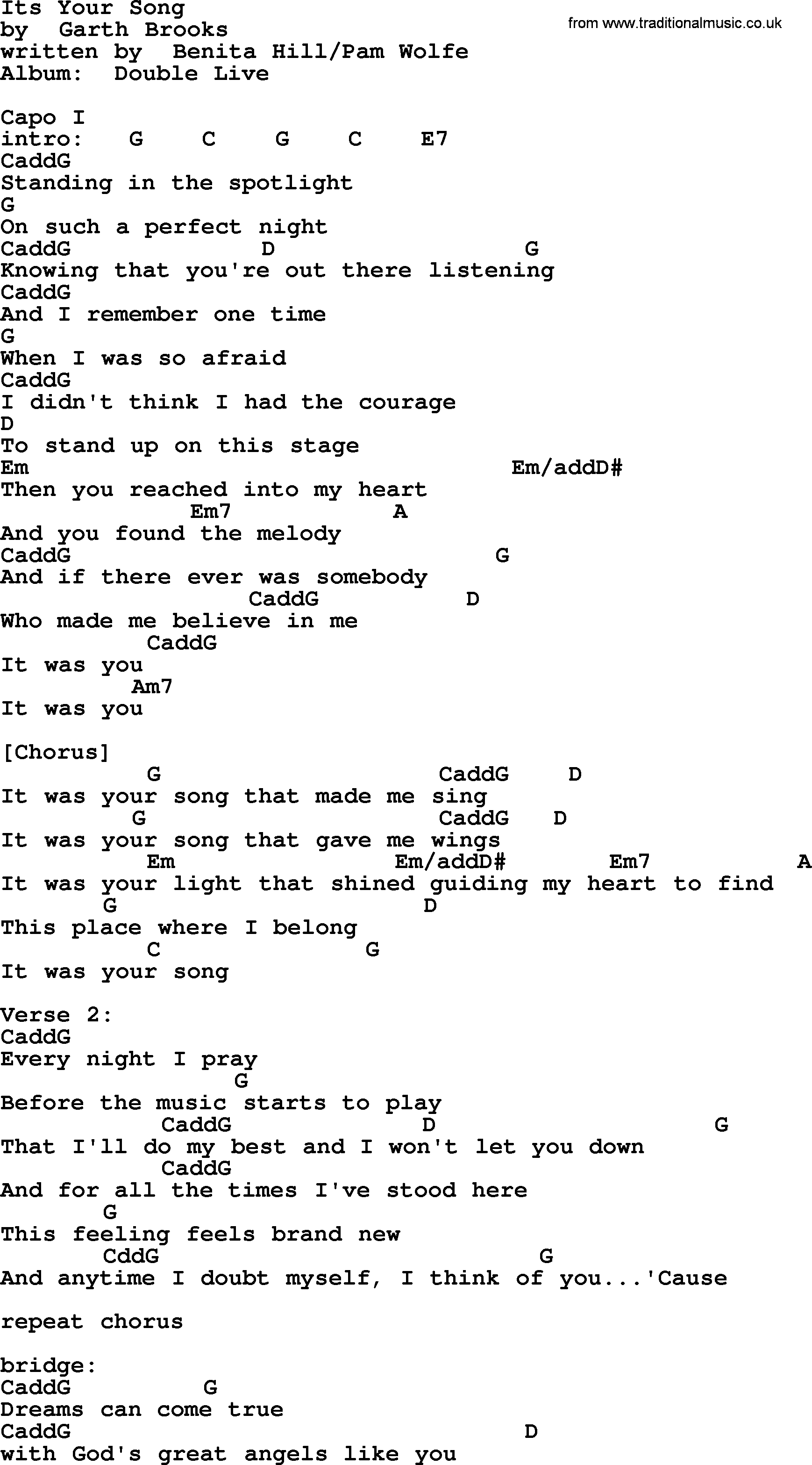 Your Song Chords Its Your Song Garth Brooks Lyrics And Chords