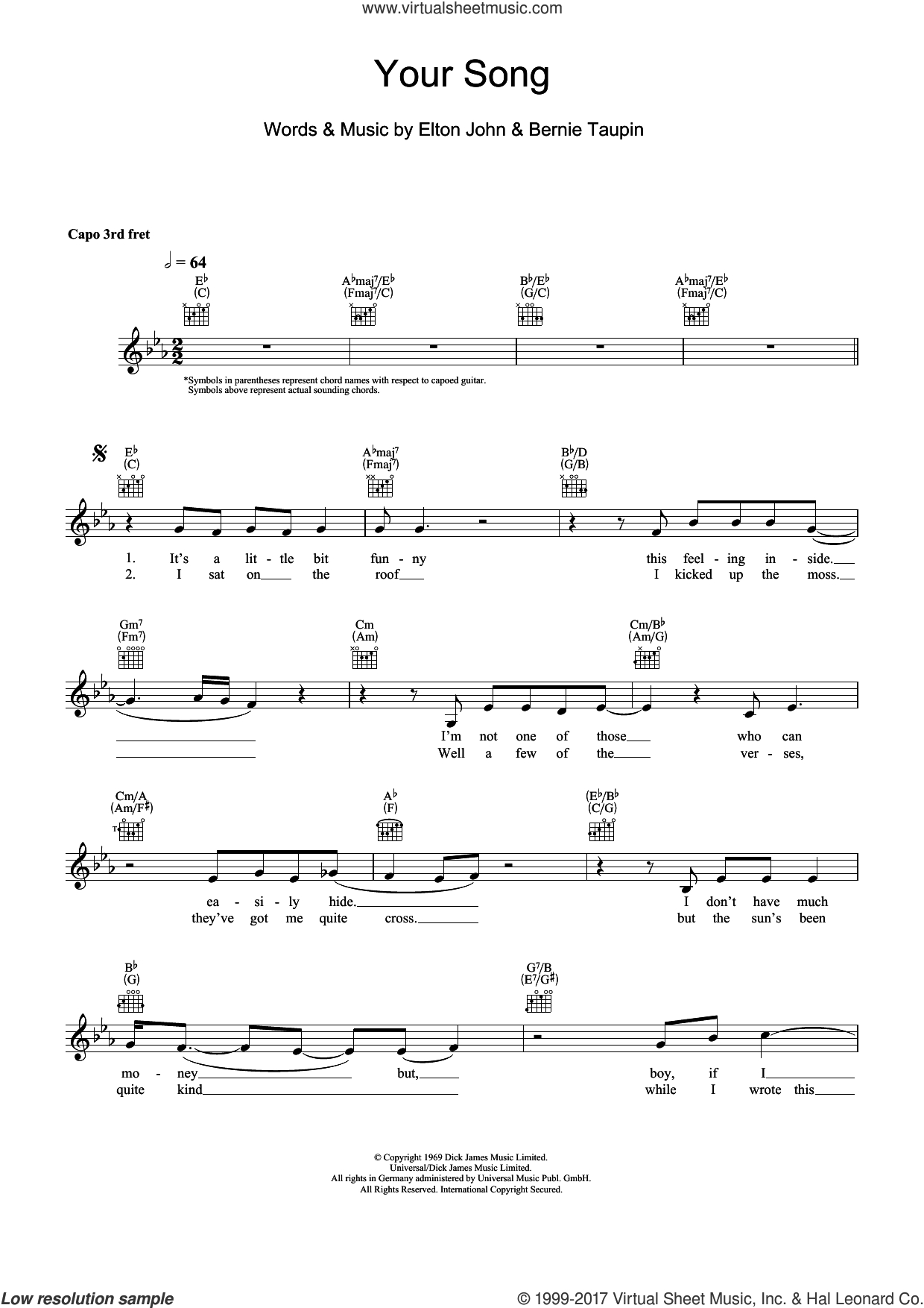 Your Song Chords John Your Song Sheet Music Fake Book Pdf