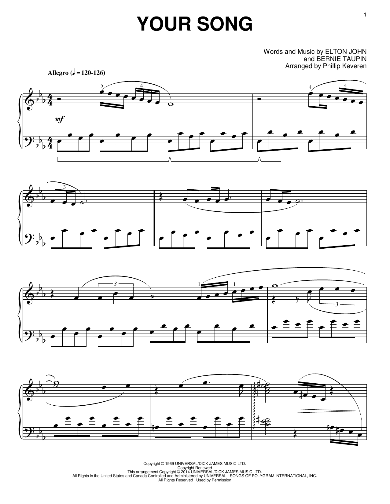 Your Song Chords Phillip Keveren Your Song Sheet Music Notes Chords Download Printable Piano Solo Sku 154339