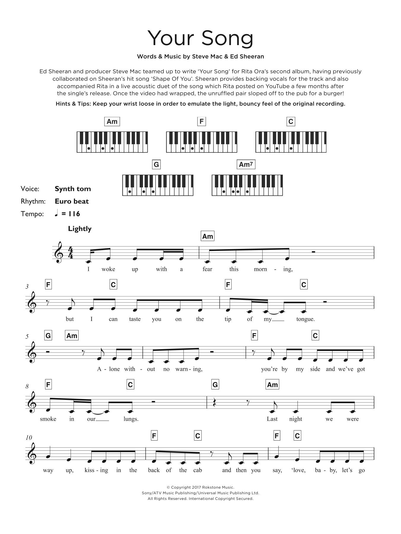 Your Song Chords Rita Ora Your Song Atstantons Sheet Music