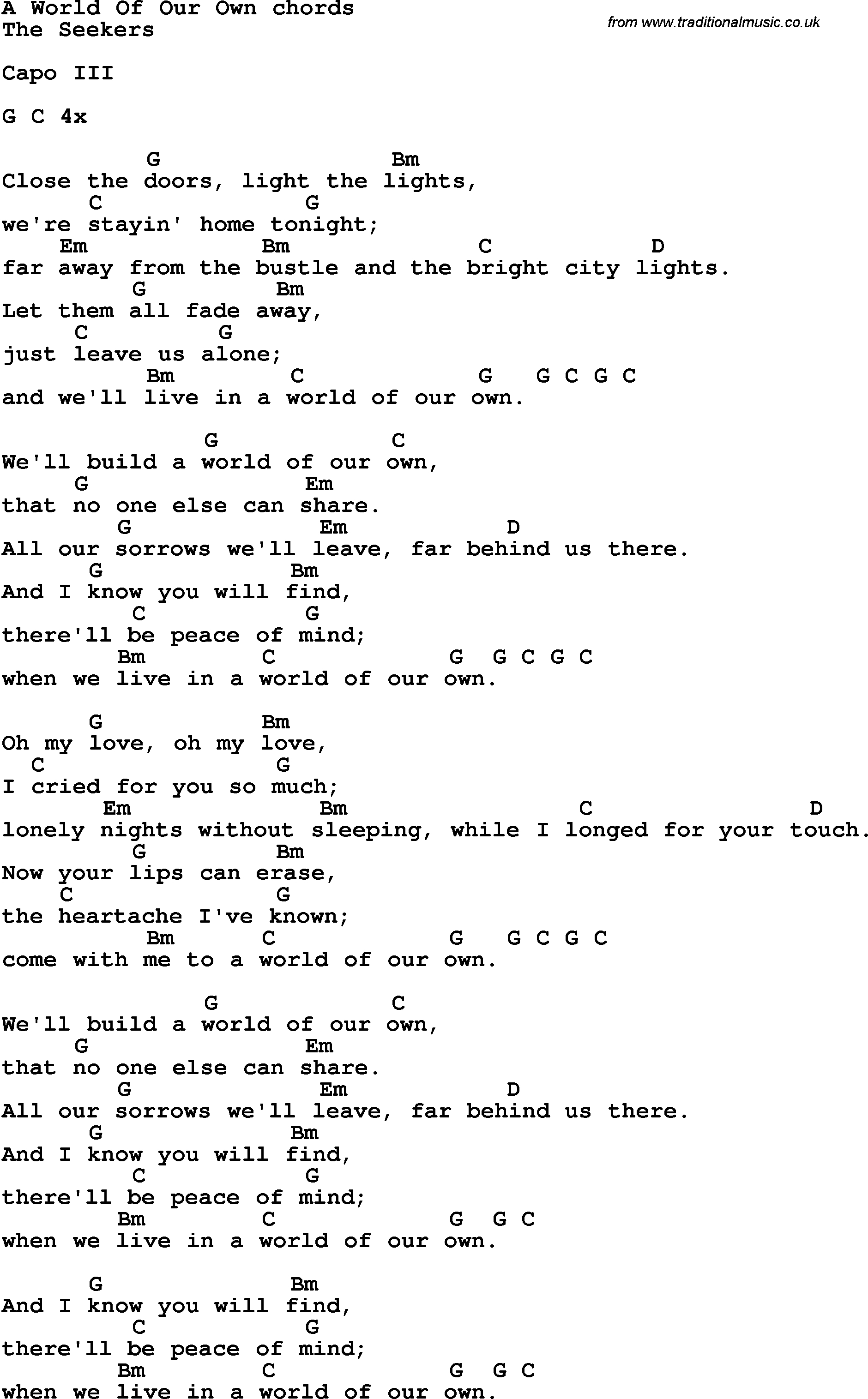 Your Song Chords Song Lyrics With Guitar Chords For A World Of Our Own