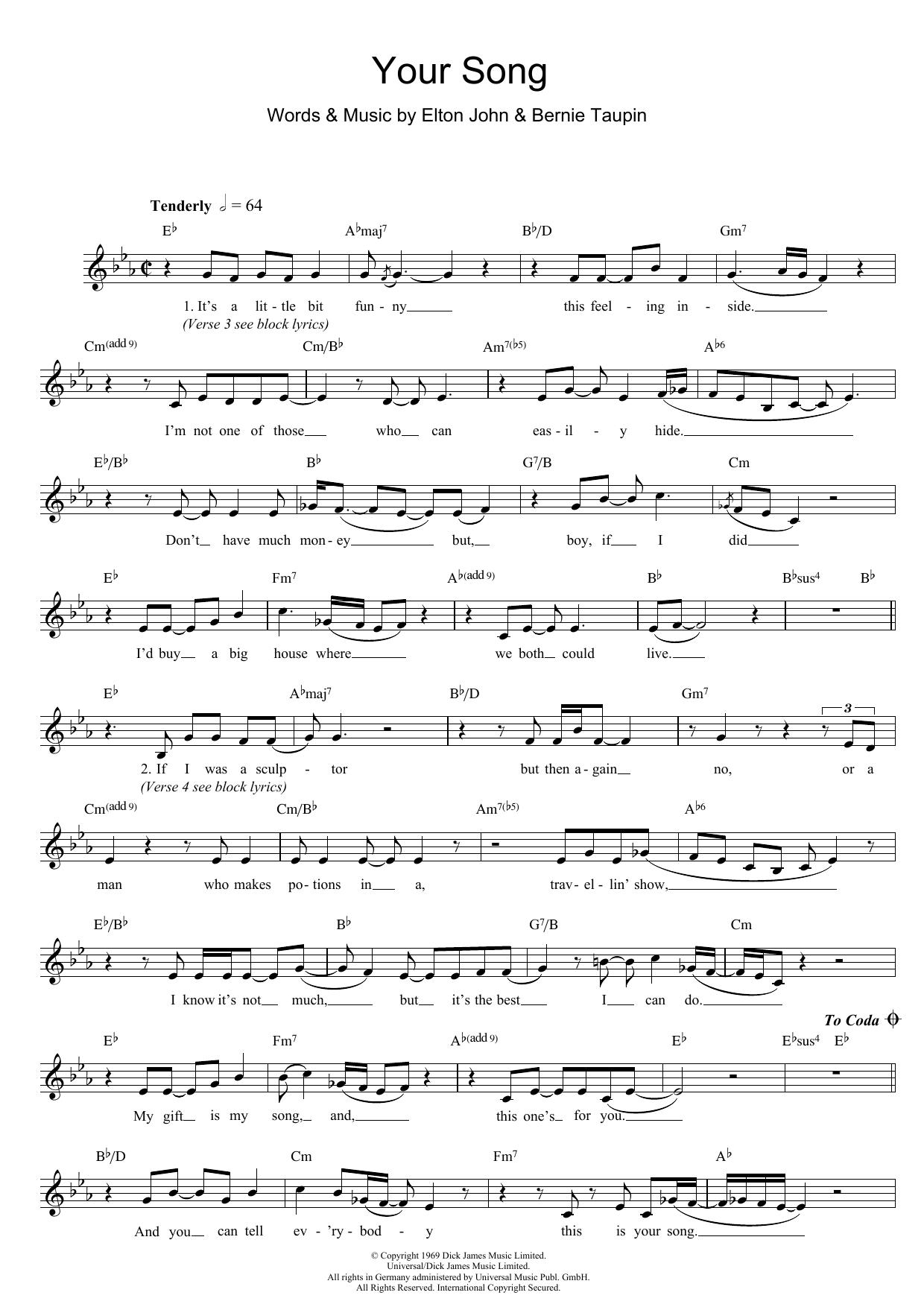 Your Song Chords Your Song Elton John Lead Sheet Fake Book Digital Sheet Music